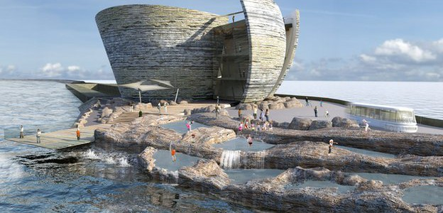 Artist's impression of oyster-shaped visitor centre at Swansea bay tidal lagoon (Source: Tidal Lagoon Swansea Bay)