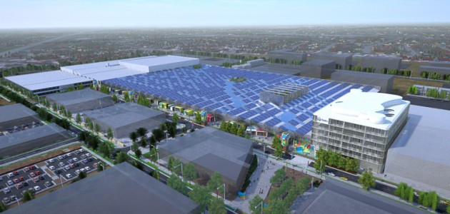 Artist's impression of the finished Tonsley advanced manufacturing precinct, adorned in solar panels.