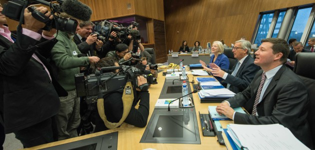 Catherine Day, Jean-Claude Juncker & Martin Selmayr in front of the press after the Juncker Commission's first weekly meeting in early November (credit: European Union, 2014)