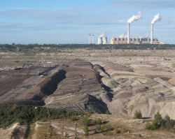 An open cast mine provides lignite for Belchatow power station, Poland (credit: Andrew Hill, via Flickr)