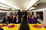 Leaders from China and 16 Central and East European countries on the high-speed train from Shanghai to Suzhou