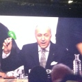 Laurent Fabius bangs down his gavel after the climate deal is sealed (photo Sonja van Renssen)