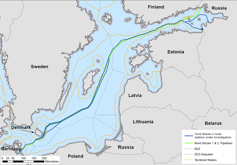 possible route Nord Stream 2 according to company