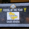 Saudi Arabia got Fossil of the Year Award in Paris 12-12-2015 (photo Takver)