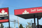 petrol station in Gibsons, British Columbia, Canada, October 2015 (photo Bob Cotter)