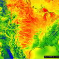 wind power potentials for US, red high, blue low (Chris Clack/CIRES)