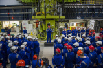 David Cameron addresses workers at Hinkley B as part of his visit to the site of Hinkley Point C, Oct 2013 (photo DECC)