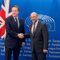 EP President Martin Schulz and UK Prime Minister David Cameron (photo European Parliament Feb 2016)