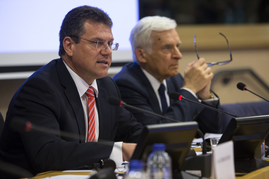 Šefčovič and Buzek at the debate in Brussels on 6 April