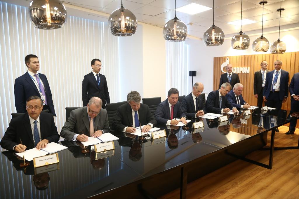 Signing of shareholders agreement: Pierre Chareyre, Klaus Schaefer, Ben van Beurden, Alexey Miller, Kurt Bock, Rainer Seele