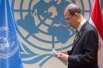 UN SG Ban Ki-moon at the signing ceremony of Paris Climate Agreement in New York 22 April (photo UN)