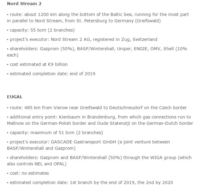 Description of Nord Stream 2 and EUGAL