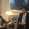 Minister of Foreign Affairs of Lithuania Linas Linkevičius speaks about Nord Stream 2 with US special energy envoy Amos Hochstein on 31 March 2016
